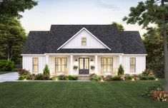 Love rustic modern farmhouse plans? Then you have to check out this new modern farmhouse exterior. It gives you a big front porch and a gable roof. Questions? Call 1-800-447-0027 today. #architect #architecture #buildingdesign #homedesign #residence #homesweethome #dreamhome #newhome #newhouse #foreverhome #interiors #archdaily #modern #farmhouse #house #lifestyle #designer Ranch Farm House, Ranch House Plans, Best House Plans, House Plans One Story, Ranch Floor Plans, House Plans With Porches, Rambler House Plans, One Story Houses, One Level House Plans