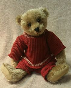"""Beautiful and sweet antique old vintage 13"""" tan mohair Steiff teddy bear with original button in his left ear. I would guess him to be circa"""