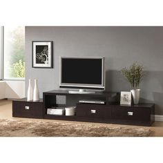 Marconi Brown Asymmetrical Modern TV Stand - 14341312 - Overstock - Great Deals on Baxton Studio Entertainment Centers - Mobile
