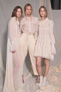 Models are seen backstage ahead of the Philosophy Di Lorenzo Serafini show during the Milan Fashion Week Autumn/Winter 2015 on February 27, 2015 in Milan, Italy.