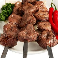 Grilled Beef Skewers Recipe from Moore's Marinade. Possibly for Memorial Day party?
