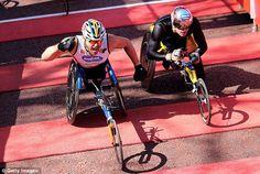 Close: Australias Kurt Fearnley won the race by a split second from Switzerlands Marcel Hug David Weir, London Marathon, Split Second, Marcel, Disability, Martial Arts, Fundraising, Hug, It Is Finished