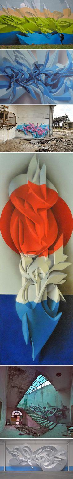 L'artiste italien multi-casquettes Manuel Di Rita aka Peeta, graffeur, peintre et sculpteur, vit et travaille à Venise. Depuis les années 2000, ses oeuvres sont reconnues internationalement, surtout pour son style en 3D unique. En utilisant plusieurs techniques d'ombres, de dégradés et d'effets d'optique, son dessin semble souvent planer et se détacher de la surface.