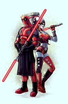 Darth Deadpool and Darth Harley by Andrew Griffith ... °°