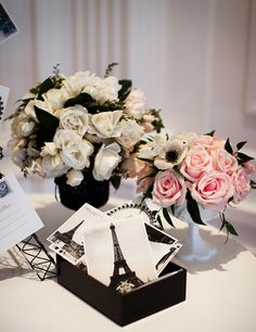 Love the black n white postcards...awesome CC inspired party