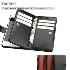 Leather Case For Apple iPhone 7 7Plus Flip Stand Wallet With Card Holder