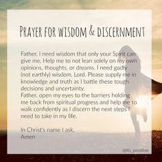 3 Prayers When Making Tough Decisions Prayer for wisdom and discernment // Discernment Quotes, Prayer For Discernment, Spirit Of Discernment, Prayer For Wisdom, Prayer For Guidance, Wisdom Bible, Prayer For Peace, Prayer Scriptures, Knowledge And Wisdom