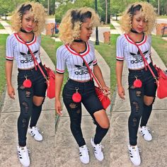 A typical school day- i Picked this outfit because I love adidas and this is something i would wear to school and my fav. color is red. Cute Casual Outfits, Swag Outfits, Dope Outfits, Outfits For Teens, Summer Outfits, Girl Outfits, Fashion Outfits, School Outfits, Black Girl Fashion