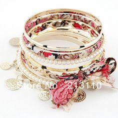 ( ordem mínima $10, a ordem da mistura) atacado tecido liga de moda pulseiras pulseiras elásticas conjuntos de cores misturada...