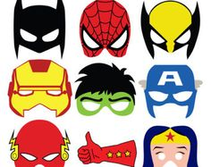 Spiderman, The Hulk, Ironman, Batman and other superhero masks