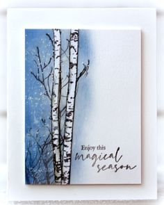 My card for a SCS challenge, Going Vertical CAS! Stamps from Penny Black Fragile Beauty Nature´s Sihouettes Frosty Hello . Penny Black Cards, Penny Black Stamps, Stampin Up, Handmade Birthday Cards, Handmade Cards, Watercolor Cards, Watercolor Ideas, Flower Stamp, Heartfelt Creations