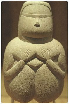 Female figurine from the Ozieri culture (or San Michele culture), a prehistoric pre-Nuragic culture that lived in Sardinia from c. 3200 to 2800 BC.      [Dea Madre Museo Archeologico Nazionale di Cagliari