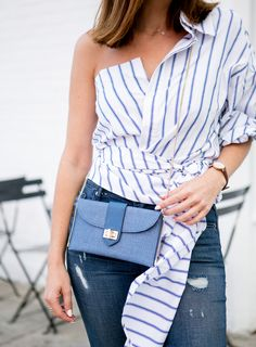 Sydne Style shows how to wear the deconstructed shirt trend for summer fashion