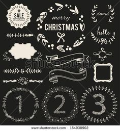shutterstock:   Christmas Hand Drawn Vector Set: Design Elements and Page Decoration, Vintage Ribbon, Laurel, Label - stock vector