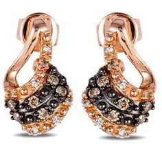 LeVian 0.17 Carat Chocolate and White Diamond 14K Rose Gold Earrings · YQCM 121 · Ben Garelick Jewelers