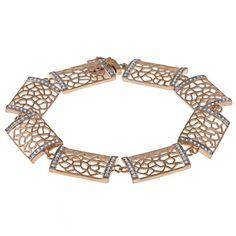 La Preciosa Rose Goldtone Silver Cubic Zirconia Rectangle Link Bracelet Women's