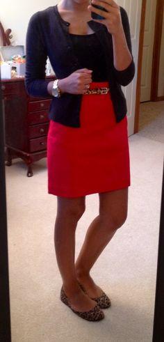 Black top, black cardigan, red skirt, and leopard flats... Loving it...