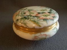 T&V Limoges Hand Painted Dresser/Jewelry Box w/Wild Rose Blossoms Motif