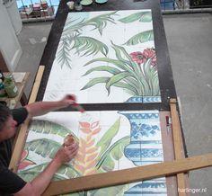 work in progress on big tile tableau project / #handmade / #majolica / #fayence