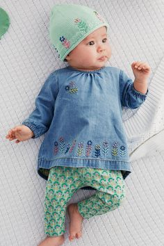 Buy Embroidered Denim Blouse And Print Leggings Set (0-18mths) from the Next UK online shop
