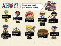 Here are some smart board activities that was created for a pirate themed classroom that includes brain breaks. Kindergarten Class, Kindergarten Activities, Teach Like A Pirate, Smart Board Activities, Fourth Grade, Third Grade, Promethean Board, Crocodile Rock, Thematic Units