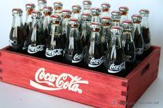 Pequeña caja 22 mini botella botellin de Coca Cola miniatura pequeña cristal llena casa muñecas