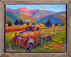 Magpie Playground x Leigh Gustersonoil on canvas in handmade frame Truck Paint, Southwestern Art, Old Gas Stations, Mexico Art, Landscape Paintings, Landscapes, Handmade Frames, Old Trucks, All Art