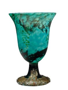 DAUM NANCY& ARISTIDE COLOTTE (1885-1959) An internally decorated blown glass vase with an exceptional wrought iron mount created by Aristide Colotte. Signed «Colotte». Circa 1920. 13 1/2 in. (34,5 cm) high