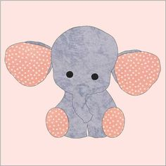 Check out our elephant applique selection for the very best in unique or custom, handmade pieces from our sewing & needlecraft shops. Machine Embroidery Patterns, Applique Patterns, Applique Quilts, Applique Designs, Quilt Patterns, Knitting Patterns, Machine Applique, Embroidery Designs, Elephant Template