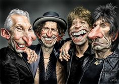 The Rolling Stones, watercolour on 140 lbs hotpress fabriano paper Cartoon People, Cartoon Faces, Funny Faces, Cartoon Art, Satire, The Rolling Stones, Funny Caricatures, Celebrity Caricatures, Heavy Metal