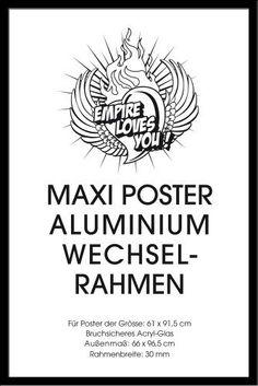 Empire 354556 Wechselrahmen für Maxi-Poster der Grösse 61 x 91.5 cm aus Aluminium, Aussenmaß 66.2 x 96.7 cm - schwarz NEU. 30 mm ALU-Profil (Metall) mit Acrylglas von Empire Merchandising GmbH Consignment, http://www.amazon.de/dp/B004G9ZIYE/ref=cm_sw_r_pi_dp_YEaZrb1AK5R0Z