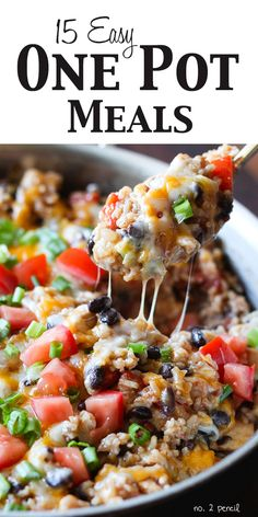 15 Easy One Pot Meals from No. 2 Pencil.com http://www.number-2-pencil.com/2014/10/08/fifteen-easy-one-pot-meals-dinner/