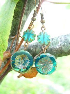 Beachy Blossoms II... Czech Glass Picassso Flower Earrings, Antiqued Copper earrings, Boho Earrings, Czech Glass Jewelry