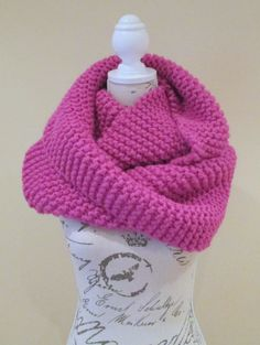 Winter Cowl for Women Pink Handknitted Snood by AwfyBrawJewellery