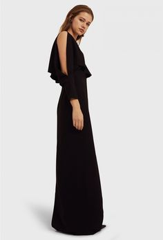 AQ/AQ Larissa Deep Plunge Maxi Dress with Exposed Shoulders and Frill Detail · Black