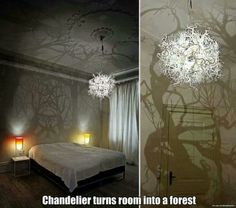 Chandelier turns room into forest