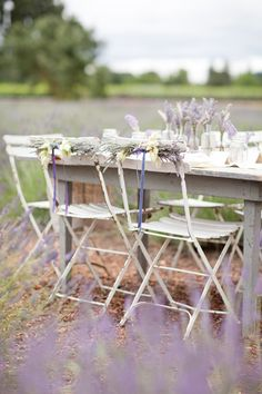 Lavender chair decorations   Dreamy Whites: Thank You Style Me Pretty, KT MERRY, and Sara Jean Events~ Sonoma Lavender Farm