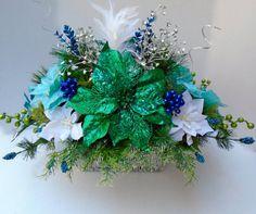 Christmas Floral Centerpiece Large, Poinsettia Centerpiece, Dining Table Centerpiece