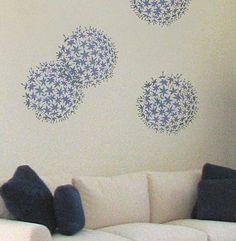 Flower Stencil Allium Grande - Reusable Stencil for DIY Home Decor on Etsy, $32.95