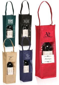 Custom Printed Wine Bottle Carrier Gift Bags with Clear Window