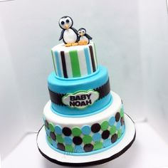 Penguin Baby Shower Cake