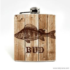 Bass Fish Flask hip flask Stainless Steel 6oz Liquor Personalized Outdoorsmen Groomsmen Gone Fishing Boat Fathers Day