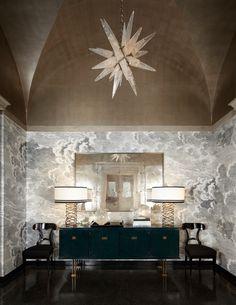 Lichten Craig - Interior Designer - Chicago - Italiante - Contemporary - Foyer - High Ceiling - Star Chandelier - Printed Walls - Neutrals - Lamps - Mirror - Display Dresser - Rotunda