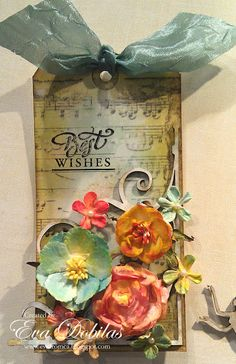 Tag created  with Shabby Music Background and Spring Words JustRite stamps.