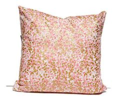 A perfect accent for a girls bedroom, nursery or playroom - a modern and bright pillow cover featuring metallic gold, blush pink and coral on a soft light pink background. This listing is for one 16 inch square pillow cover in a blush pink and metallic gold waterfall of dots. A great way to accent a nursery or kids room. * To keep shipping costs down, pillow inserts are not included in this listing.  Features: * 100% cotton, light weight quilting fabric (such as the kind of fabric used for…