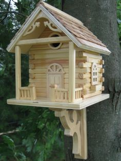 Rustic Log Cabin Bird house is natural wood bird house with inch dia. Bird house for cavity dwellers: Wrens, Chickadees, Nuthatches and Titmice. Bird House Feeder, Diy Bird Feeder, Bird House Kits, Bird House Plans Free, Wooden Bird, Fairy Houses, Cozy House, Decoration, Garden Ideas