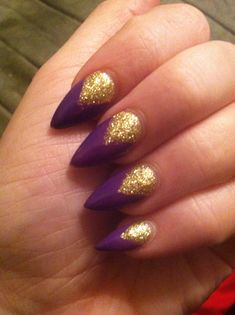 Purple & gold stiletto nails