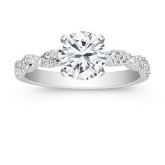Swirl Diamond Engagement Ring with Pave Setting at Shane Co.