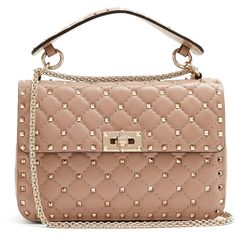 Valentino Rockstud Spike medium quilted-leather shoulder bag ($2,795) ❤ liked on Polyvore featuring bags, handbags, shoulder bags, studded shoulder bag, chain strap purse, chain strap shoulder bag, beige purse and studded purse