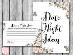 th03 Date Night Ideas, Date Night Cards, Date Night Sign,